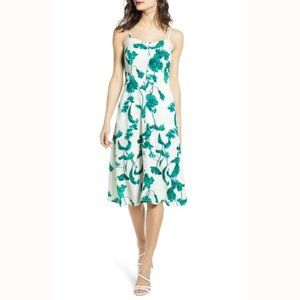 Chelsea28 Leaf Print Midi Dress